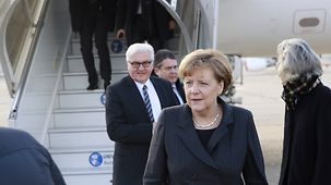 Chancellor Angela Merkel, Federal Foreign Minister Frank-Walter Steinmeier and Vice-Chancellor Sigmar Gabriel arrive in Paris.