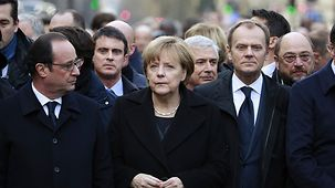 (left to right) French President François Hollande, Chancellor Angela Merkel and Donald Tusk, President of the European Council