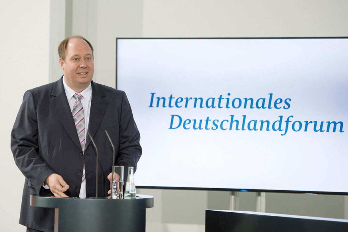 Helge Braun, Minister of State to the Federal Chancellor, speaks at the opening of the 3rd International German Forum at the Federal Chancellery.