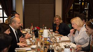 Johanna Wanka, Federal Minister of Education and Research, talks to Israel's Education Minister Naftali Bennett.