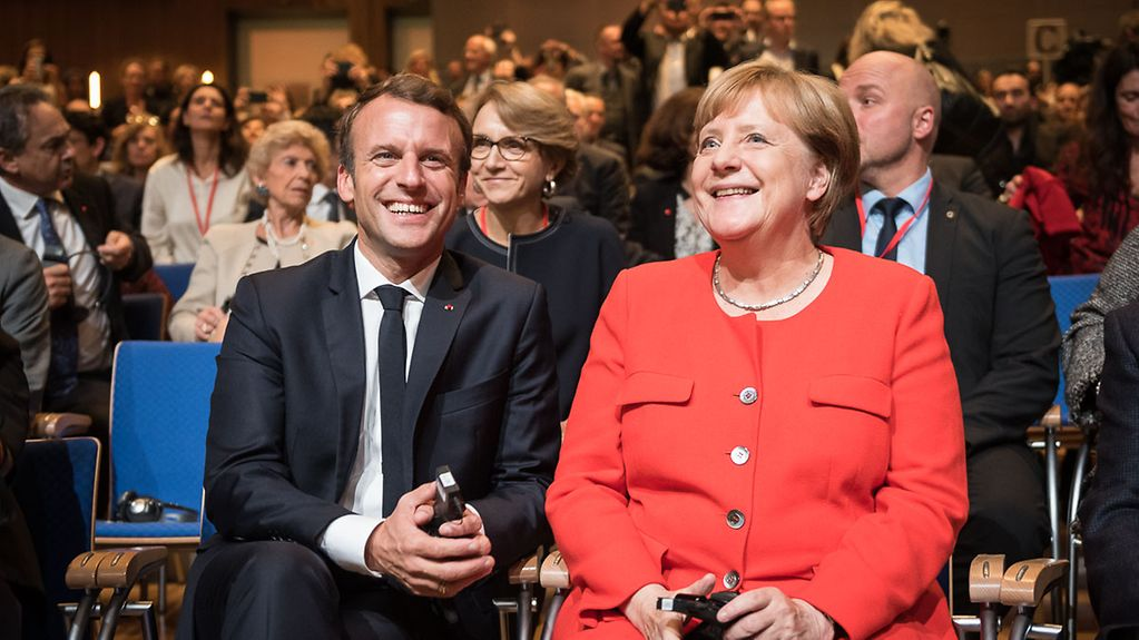 Chancellor Angela Merkel and French President Emmanuel Macron at the opening of the Frankfurt Book Fair